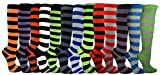 Julietta Women's Fine Fit Colorfull Striped Knee High Socks(6 Pairs)