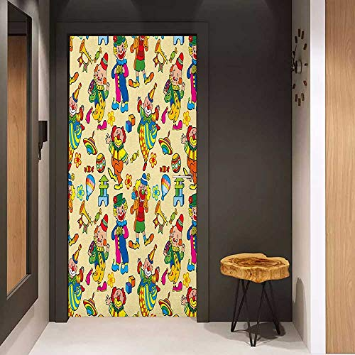 Onefzc Door Wall Sticker Nursery Circus Carnival Artful Festive Pattern Dancing Characters Toys Clowns Entertainment Mural Wallpaper W30 x H80 Multicolor
