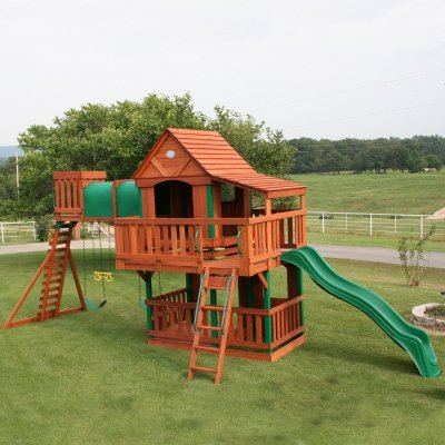 Amazon Com Woodridge Wooden Swing Set With Slide Toys Games