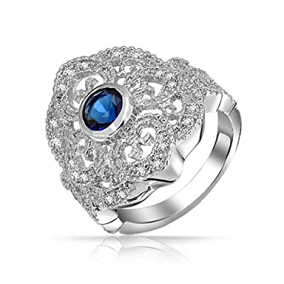 new Bling Jewelry Blue Simulated Sapphire CZ Heart Full Finger Rhodium Plated Armor Ring