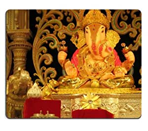 God India Ganesha Pune Dagdusheth Halwai Mouse Pads Customized Made to Order Support Ready 9 7/8 Inch (250mm) X 7 7/8 Inch (200mm) X 1/16 Inch (2mm) High Quality Eco Friendly Cloth with Neoprene Rubber MSD Mouse Pad Desktop Mousepad Laptop Mousepads Comfortable Computer Mouse Mat Cute Gaming Mouse pad