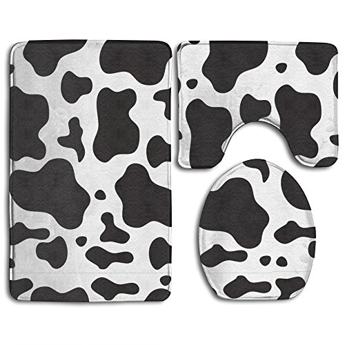 Cow Spots Print 3 Piece Bath Rug Set Bathroom Rug Set Contour Rug And Lid Cover Absorbent Anti-Slip