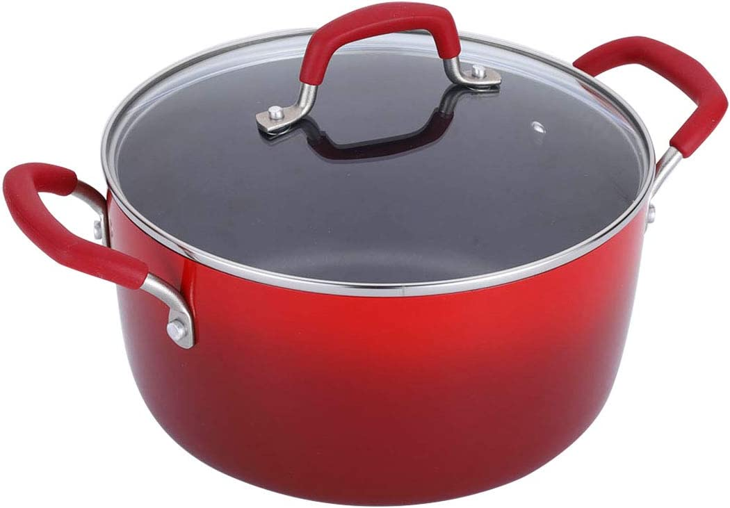 Momscook Stockpot 5-Quart Covered Dutch Oven, Classic Brights Hard Enamel Aluminum Nonstick Stockpot, Dishwasher Safe Casserole, Red Gradient
