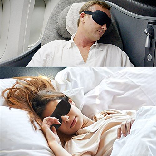 Sleep Mask Pack of 2 Eye Mask for Sleeping with Adjustable Strap 3D Contoured Sleeping Mask, Lightweight & Soft Blackout Blindfold for Travel, Shift Work & Meditation, Black by imarron (Image #5)