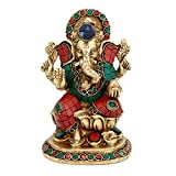 CraftVatika Indian God Ganesha Idol Large - Handmade Brass Hindu Religious Sculpture - 7.0'' x 5.0'' x 4.0''