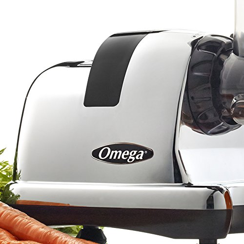 Omega Juicer J8008C Juicer Extractor and Nutrition Center Creates Fruit Vegetable and Wheatgrass Juice Quiet Motor Slow Masticating Dual-Stage Extraction Automatic Pulp Ejection, 200-Watt, Metallic