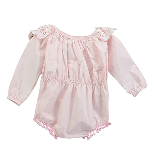 e022936a601b Image Unavailable. Image not available for. Color  Zhengpin Toddler Baby  Girls Long Sleeve Pink Ruffles Romper ...