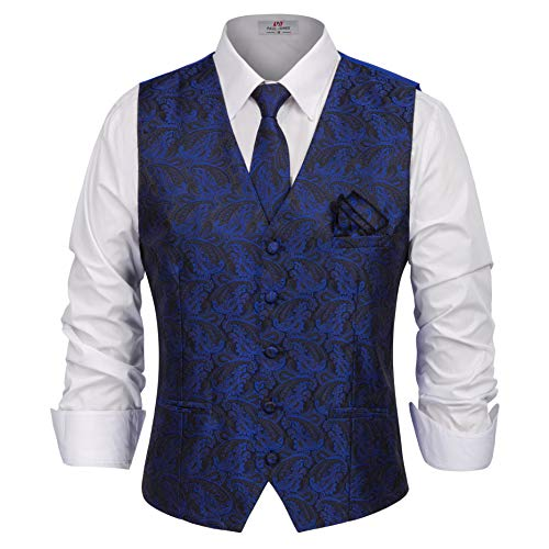 (Men's Paisley Woven Vest Tie Pocket Square 3 Piece Set for Suit or Tuxedo Size L Blue)