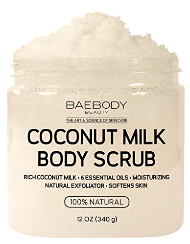 Baebody Coconut Milk Body Scrub: With Dead Sea Salt, Almond Oil, and Vitamin E. Natural Exfoliator, Moisturizer Promoting Radiant Skin 12 oz.