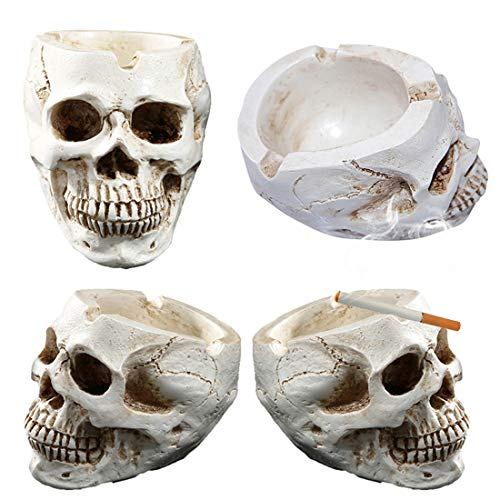 JONARO 1 pcs Skull Ashtray Tobacco Ash Container Halloween Decor Props Retro Vintage Household Ornament Crafts -