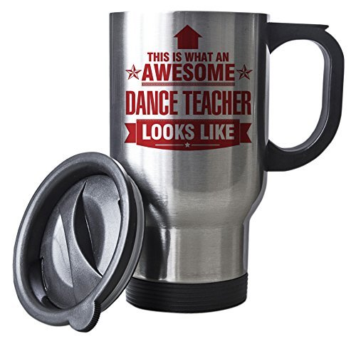 RED This is what an AWESOME Dance Teacher Looks like SILVER Mug - Gift idea work by Duke Gifts
