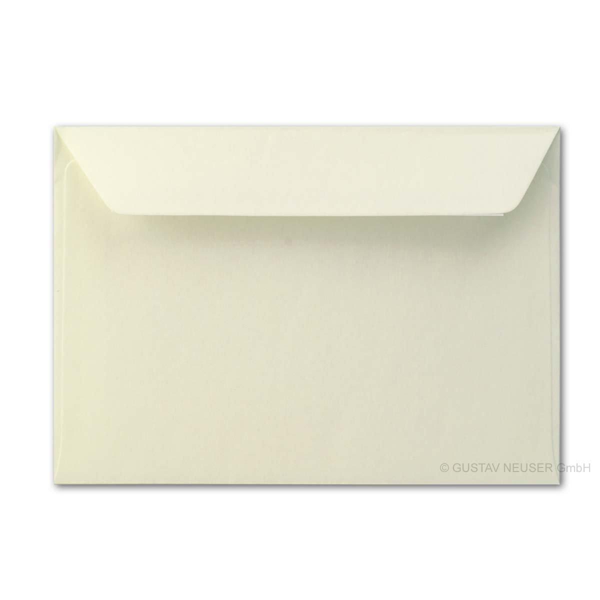 Buste formato DIN B6//12 x 18 cm//con lembo adesivo, panna 90 g/m² //Neuser. 50 Umschlä ge crema panna 90g/m²//Neuser. 50 Umschläge crema