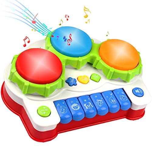 AMOSTING Learning Educational Development Musical Keyboard Drums Set for Toddler and Babies (Best Toys For 12 24 Months)