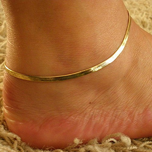 [Womens Silver/Gold Chain Ankle Bracelet Fishbone Anklet Foot Jewelry Beach (Yellow)] (Gold Womens Ankle Bracelet)