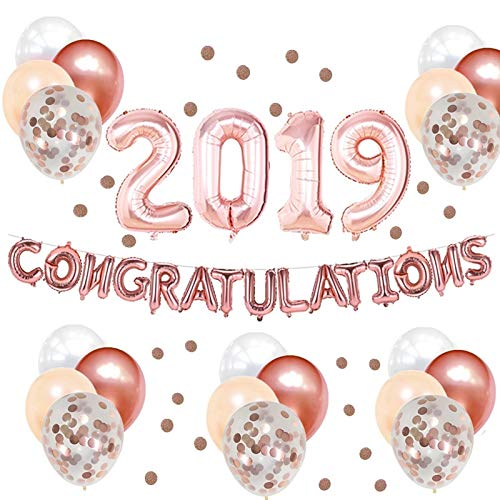 32inch Rose Gold Congratulations 2019 Balloons Banner and Paper Flags Garland for 2019 Graduation Decorations and Supplies ()