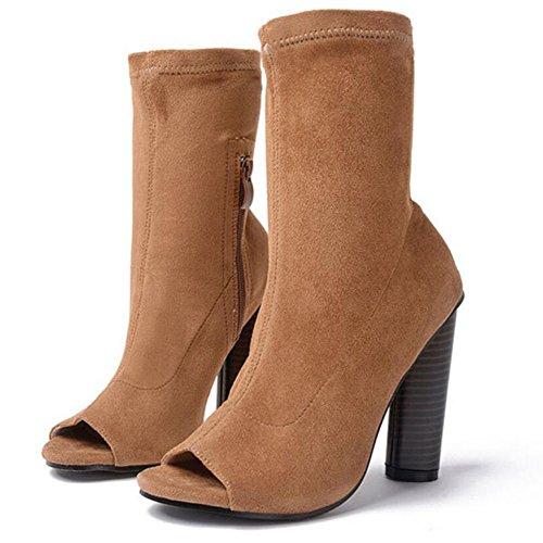 de marrón mujeres Brown Sandalias de tela negro toe GAOLIXIA arranque de elástico Hollow las altos cuero tacones peep de 4TtxTf0qw