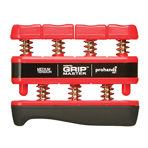 Prohands Gripmaster Hand Exerciser, Finger Exerciser (Hand Grip Strengthener), Spring-Loaded, Finger-Piston System, Isolate and Exercise Each Finger, (7 lb Medium Tension, Red-Gripmaster)
