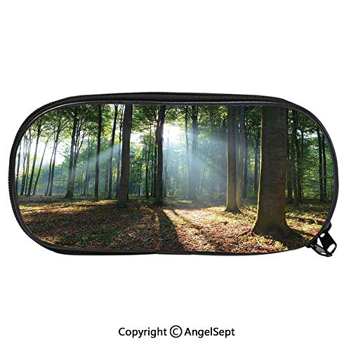 Pattern Pencil Bag Forest Morning Haze City Park Ecology Hiking Traveling Destination Scenery Photo for Kids Boys Girls School Students Pencil Case with Zipper Children Pen Bag Pouch HolderGreen Brow City Park Kids Student Desk