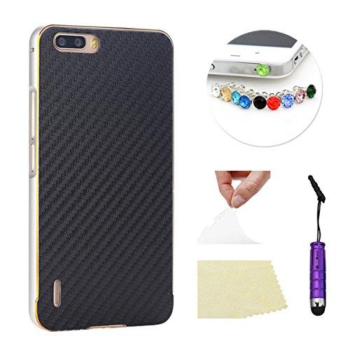 Huawei Honor 6 Plus Funda Case LifeePro Stylish 2 in 1 Patrón de teléfono híbrido [Anti-rasguños] [Antideslizante] Resistente a los golpes PU Cuero Negro Contraportada + Caja de parachoques de alumini Plata