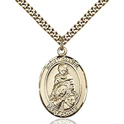 Gold Filled St. Daniel Pendant 1 X 34 Inches With Heavy Curb Chain