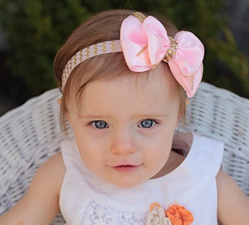 Amazon.com  Pink And Gold Baby Headband d53d8b986bc