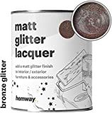 Hemway Bronze Glitter Matt Varnish Lacquer Quick Dry Sparkling Glaze Interior Exterior, Furniture, Accessories, Brick, Wood, Stone, Plaster, Plastic, Tiles (1 Litre/Quart)