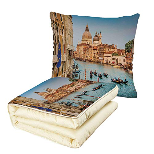 w Wanderlust Decor Sunset in Venice Gondolas on Canal Grande with Basilica di Santa Maria Della Salute Multifunctional Air-Conditioning Quilt ()
