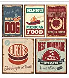"Ambesonne Retro Shower Curtain, Nostalgic Tin Signs Mexican Food Prints Aged Advertising Logo Style Design, Cloth Fabric Bathroom Decor Set with Hooks, 75"" Long, Burgundy Salmon"