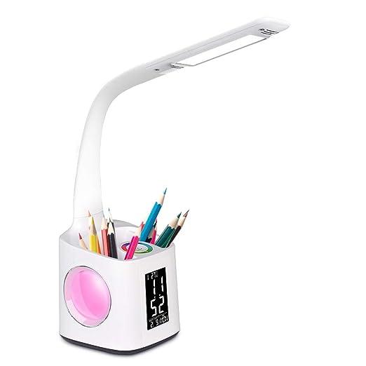 Lámpara de escritorio LED con soporte para bolígrafo, lámpara de ...