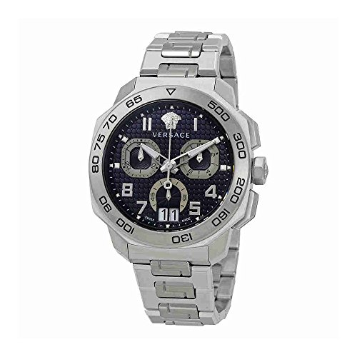Versace Men's 'Dylos Chrono' Swiss Quartz Stainless Steel Watch, Color:Silver-Toned (Model: VQC090016)