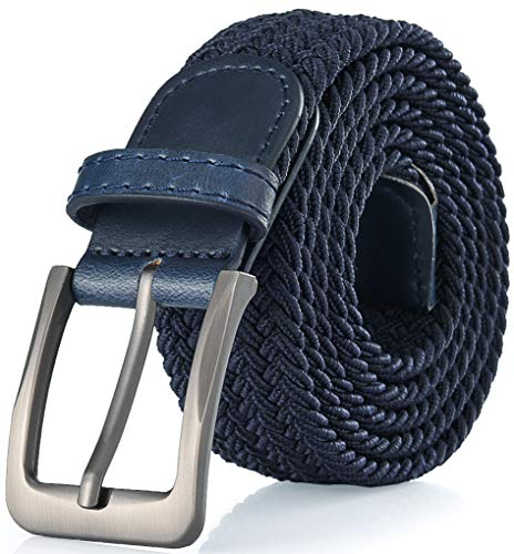 Gallery Seven Woven Elastic Braided Belt For Men - Fabric Stretch Casual Belt - Navy - Small