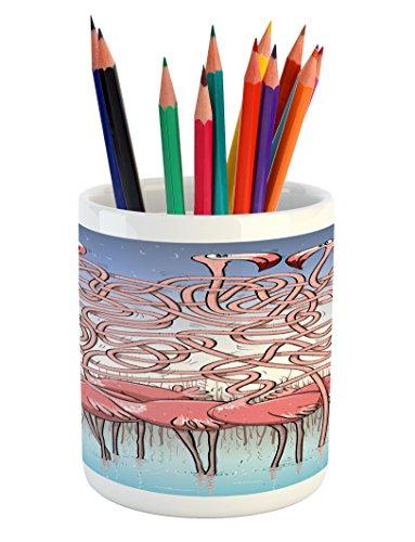 Ambesonne Fun Pencil Pen Holder, Five Cute Flamingos Maze Ga
