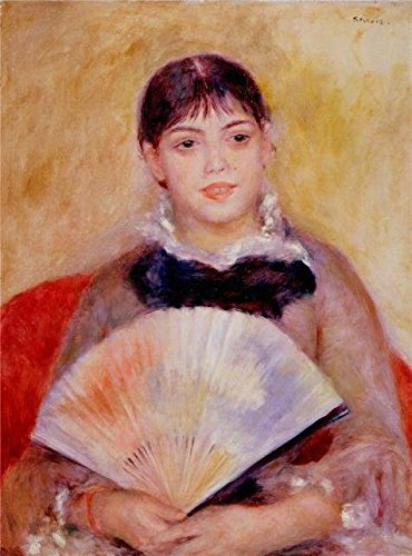 The Polyster Canvas Of Oil Painting 'Girl With A Fan,1881 By Pierre-Auguste Renoir' ,size: 16x22 Inch / 41x55 Cm ,this Imitations Art DecorativeCanvas Prints Is Fit For Wall Art Decor And Home Decor And Gifts (22 Oil Tru)
