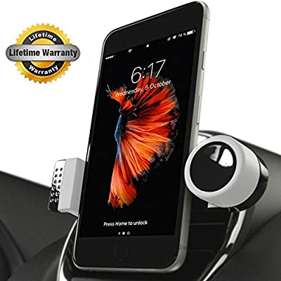 Luxury Phone Holder For Car Air Vents, 360° Rotation, Mount Fits All Smartphones Including iPhone X, 8, 7 | 7/8 Plus, 6, 6S, 5, 5S, SE | 6 Plus, 6S Plus | Galaxy S6, S7, S8, Google Pixel