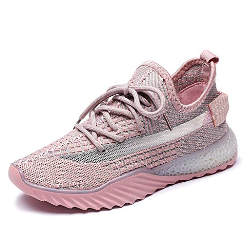 (WENSY Summer Women's Casual Outdoor Casual Shoes Fly Woven Breathable Mesh Women's Shoes Wild Sports Running Shoes(Pink,40))