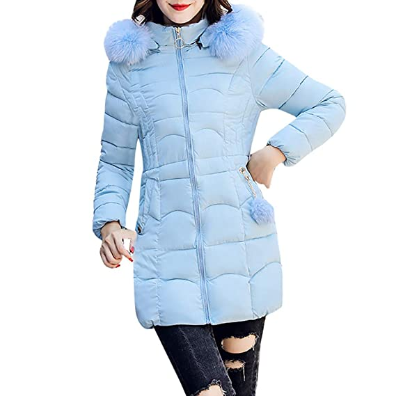 ... con Capucha Outwear Collar de algodón de Pelo Largo Caliente de Pelo Cuello de algodón Abrigo Slim Chaqueta Delgada: Amazon.es: Ropa y accesorios