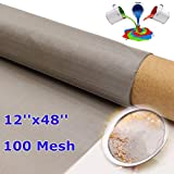 (Set of 1) - 12 x48 Inch 316 Stainless Steel 100 Mesh Filter Water Filtration Woven Wire