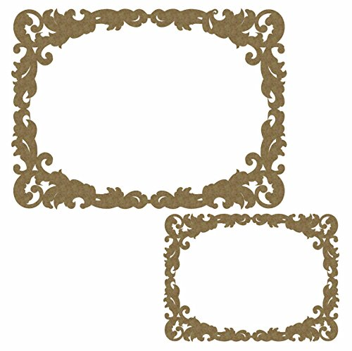 (Fancy Scrapbook Rectangle Frame - Laser Cut Chipboard - 2 Piece Set)