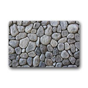 "23.6""(L) x 15.7""(W) Cool And Special Design Stones Cobblestone Pebble Doormat,Indoor/Outdoor Floor Mat"