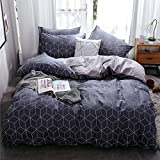 HIGHBUY Soft Cotton Geometric Plaid Bedding Duvet Cover Set King Blue for Boys Men Reversible Stripe Pattern Cotton King Duvet Cover Grey Kids Comforter Cover Set 3 Pieces,Comfortable,Breathable