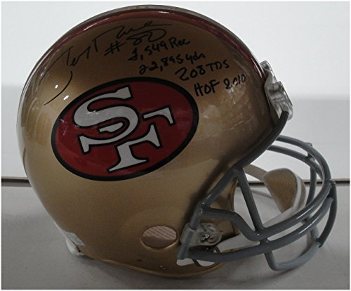 (Jerry Rice Hand Signed Autographed Full Size Authentic Helmet Stats HOF JSA)