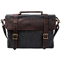 S ZONE Vintage Canvas Leather Shoulder Laptop Bag (Medium Deep Gray)