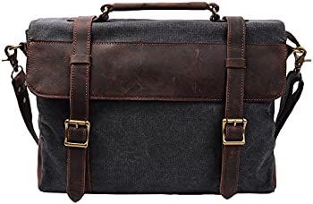 S ZONE Vintage Canvas Leather Shoulder Laptop Bag