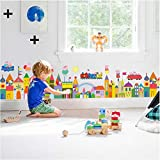 ufengke Colorful Castles Skirting Board Wall Stickers Cartoon Piglets Removable Vinyl Peel and Stick Wall Art Decals