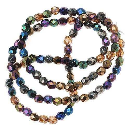 (Beadaholique Czech Fire Polish 100-Piece Round Glass Beads, 4mm, Heavy Metal Mix )