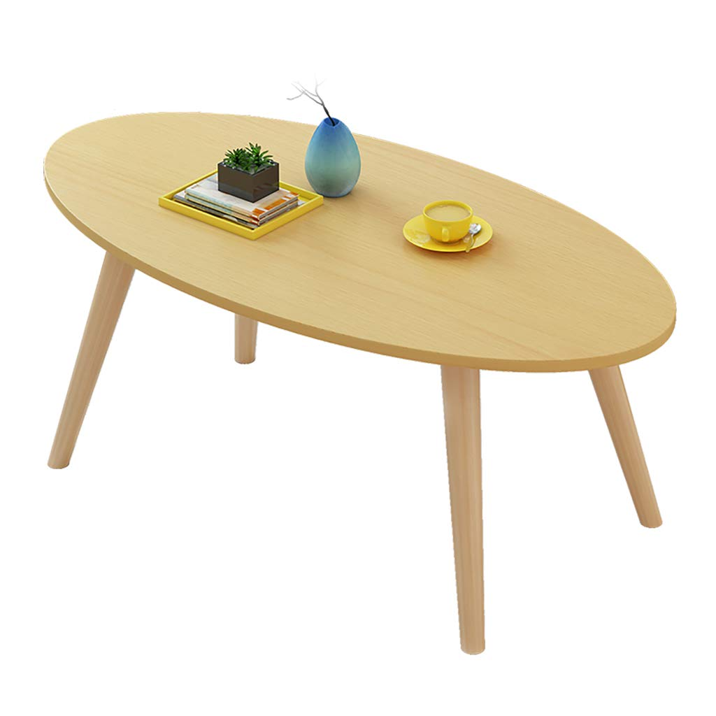 Small 120mm Living Room Coffee Table, Oval Wood Panel side table Simple Modern Style, Living Room Office Solid Wood Table Legs Super Load Bearing - Simple Assembly