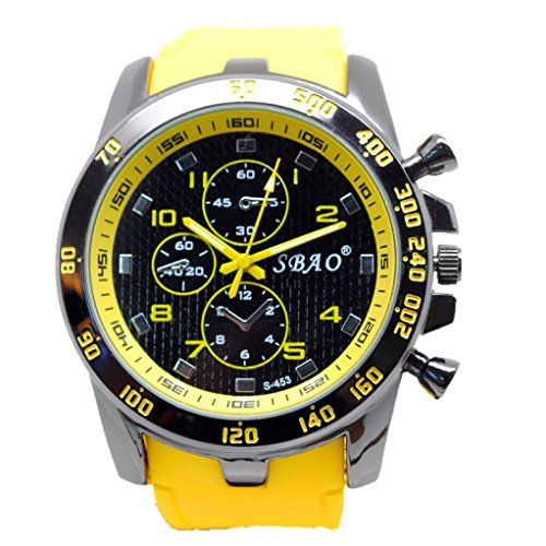 SMTSMT Stainless Steel Sport Modern Men Fashion Wrist Watch - Yellow