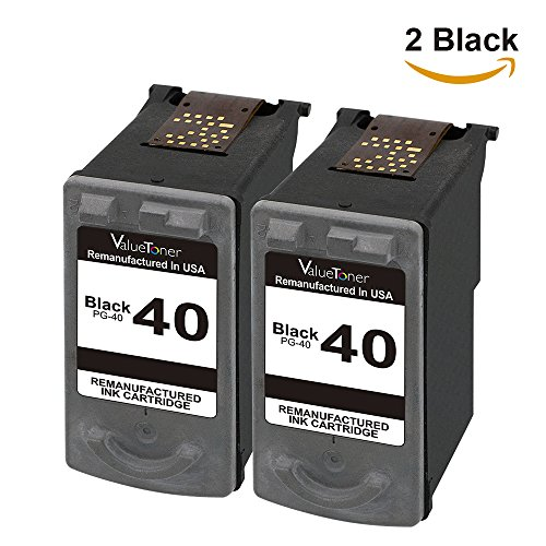 Valuetoner Remanufactured Ink Cartridge Replacement For Canon PG-40 0615B013 0615B002 (2 Black) Compatible With FAX JX200 JX210P PIXMA iP1600 iP1800 iP2600 MP160 MP170 MP180 MP190 MP210 MP450 MP460