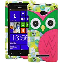 Fosmon MATT Series Hard Rubberized Slim Fitting Protective Case for HTC Windows Phone 8X (Green & Pink Owl)