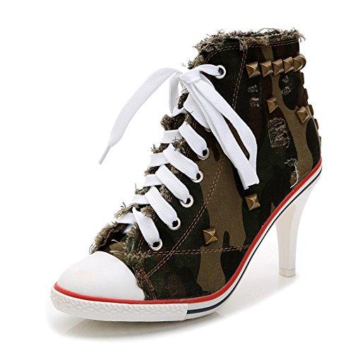 Pompe Chaussures à Haute Compensées JQNSX Chaussures Talons Femmes Toile De Hauts Lacets Chaussures armygreen Baskets fqvnwp